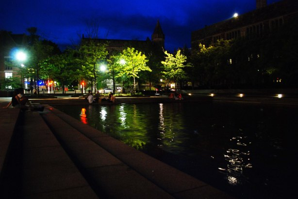 The reflecting pond in front of Robertson Hall (to the left and out of the frame)