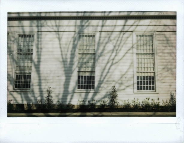 Winter shadows on the First Presbyterian Church of Cranbury